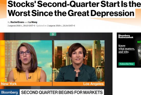 Bloomberg: Начало второго квартала худшее для акций с Великой депрессии.