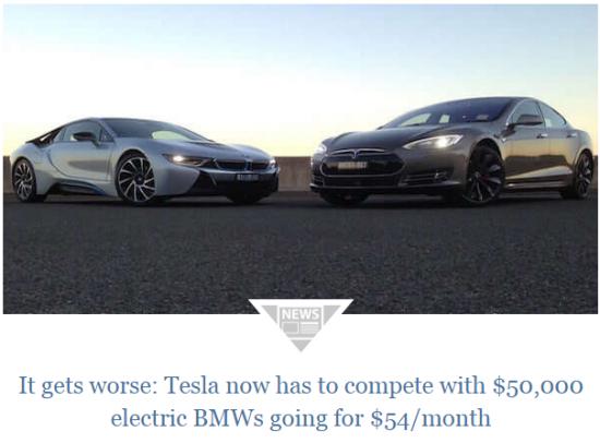 У Tesla проблемы из за BMW. i3 за $54 в месяц.