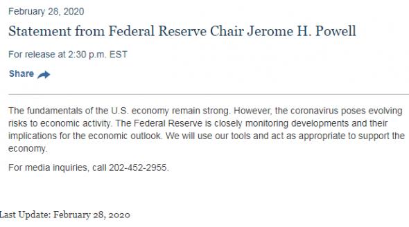 Молния! Срочное заявление главы ФРС Джерома Пауэлла.