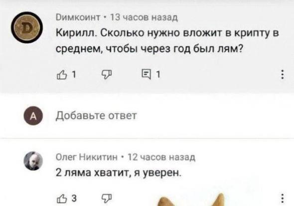 Криптоинвесторам. Я ржал пол часа)))