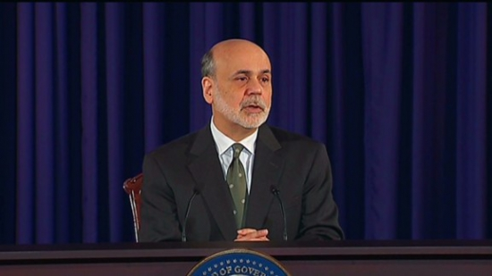Bernanke warns of fiscal cliff as Fed lowers forecasts.