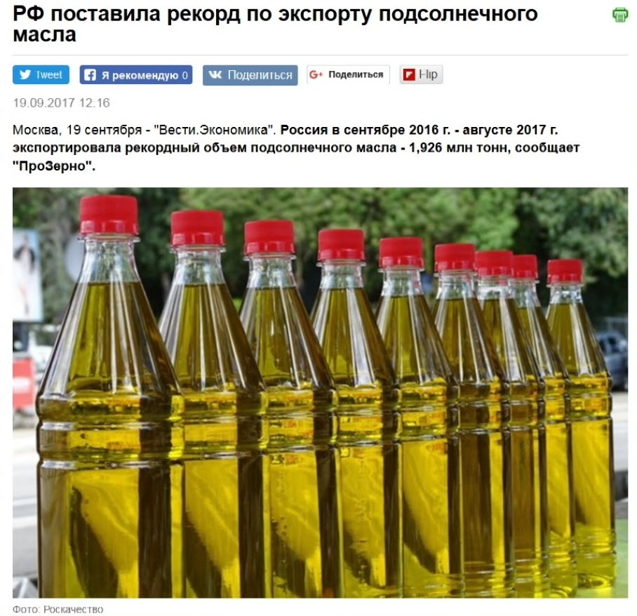 Подсолнечное масло анал