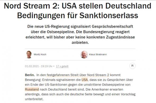 США могут снять санкции с Северного потока 2, только если Россия не будет использовать его против Украины - Handelsblatt