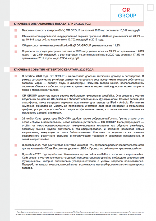 "OR GROUP (GC ""Shoes of Russia"") announces December operating results, key figures for 4Q and full year 2020"