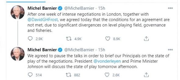 Брекзит, торговое соглашение между Лондоном и ЕС. Последние сводки с полей (перевод твиттера ЕС).