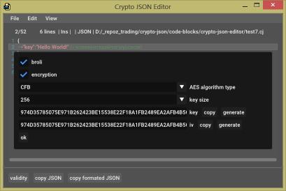 Зашифрованный и сжатый JSON с комментариями в качестве файла конфигурации